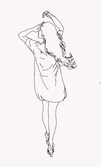 急求 手绘的长发长裙女孩背影