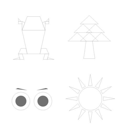 求设计大神,用自然单形即几何图形有创意画出青蛙,树