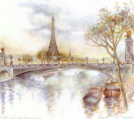 巴黎铁塔手绘图片
