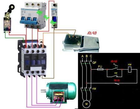 脚踏开关启动电机然后用行程开关停止电机怎么接线求实物图