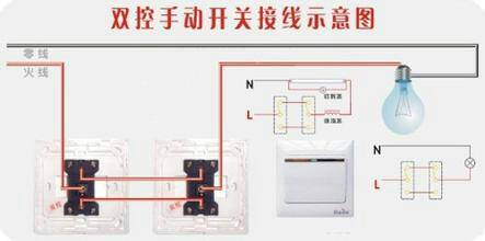 求两个开关插座控制一颗灯泡的接线图