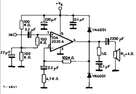 tda2030a单电功放电路图(2.1有源音箱)