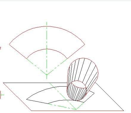 如何画圆锥瓶子的展开图?