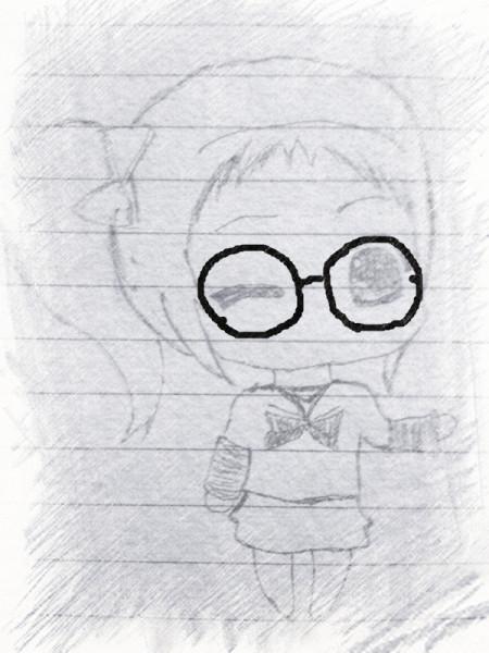 求一个戴眼镜无刘海扎马尾的q版女生绘画