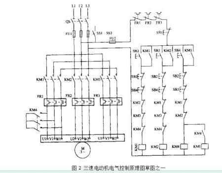 求9个接线端子三速电机的控制接线图