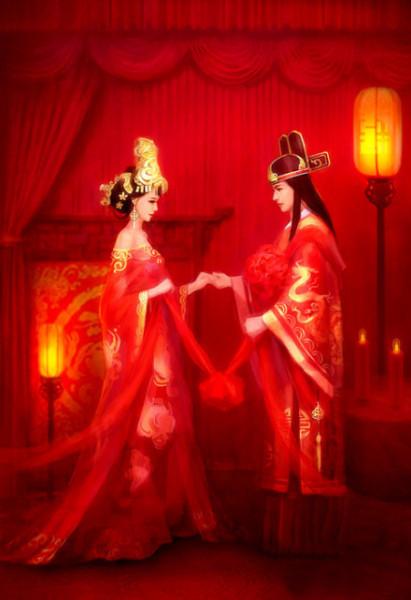 求四张古风红衣新郎新娘手绘合照!
