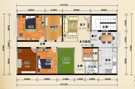 农村自建房,长15米,宽9米,求内部格局图?