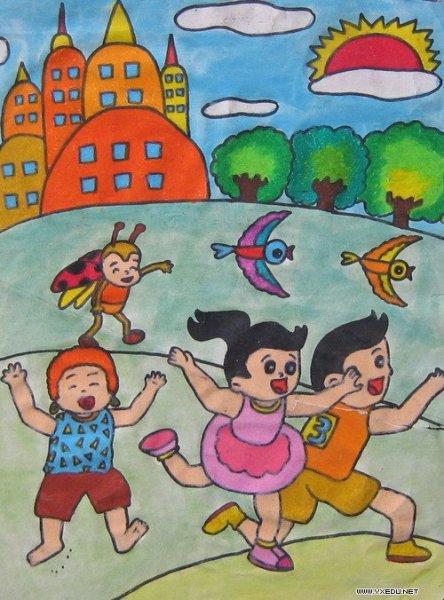 表现假期快乐生活的绘画作品图片