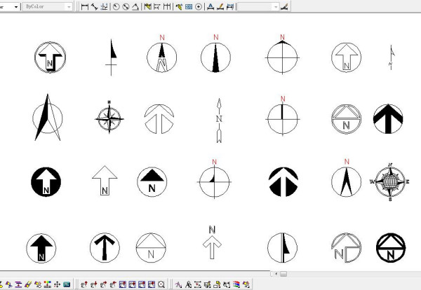 CAD向北方向标复制_百度知道cad多个绘制图排列图片