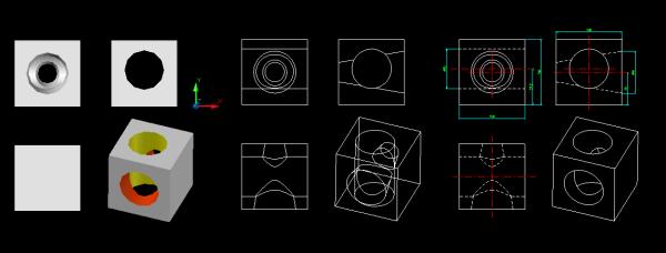 在CAD中将三维立体图转化为三视图?阳光房v中将cad图纸图片
