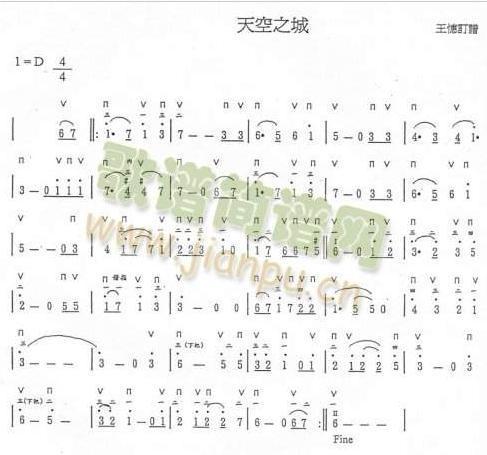 涓城曲谱-天空之城简谱   宽487*455高   天空之城钢琴谱简谱
