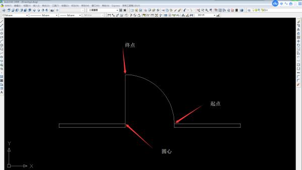 CAD门弧画cad窗口显示完整打印不图片