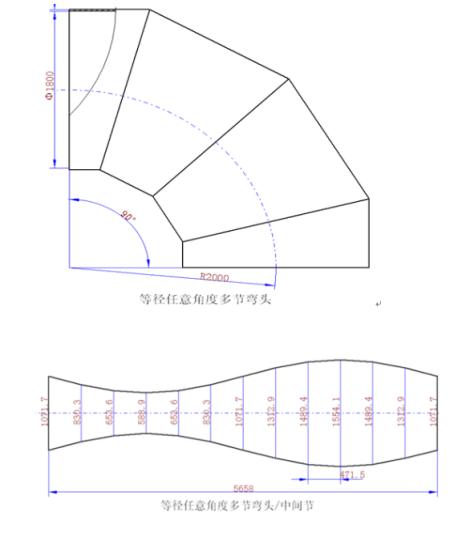 90度,直径220的圆管4节弯头,求制作放样图?也要展开图