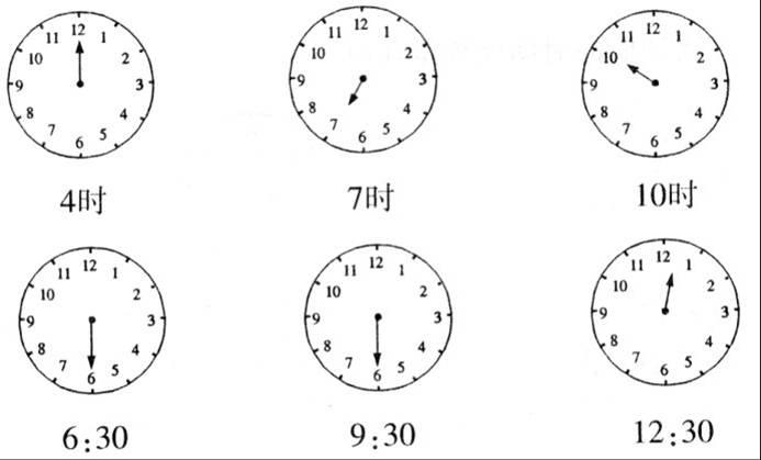 一年级钟表的认识练习图片