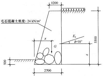有一毛石混凝土重力式挡土墙,如图所示.墙高为5.5m,墙图片