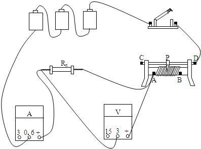 然后把电源,开关,滑动变阻器,待测电阻,电流表串联接入电路,电压表