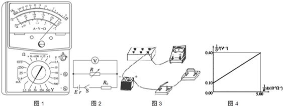 电阻箱r,定值电阻r0=59Ω,开关s,若干导线和该电源组成电路,测定该