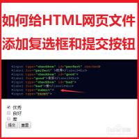 如何给HTML网页文件添加复选框和提交按钮?