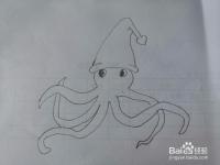如何画圣诞节八爪鱼?