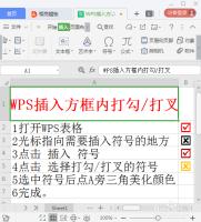如何在WPS中插入方框内打勾/打叉的符号