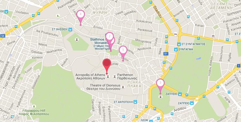 雅典卫城旅游地图