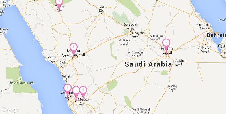 沙特阿拉伯旅游地图