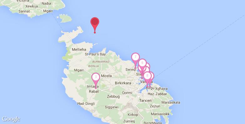 2016最新瓦莱塔旅游地图