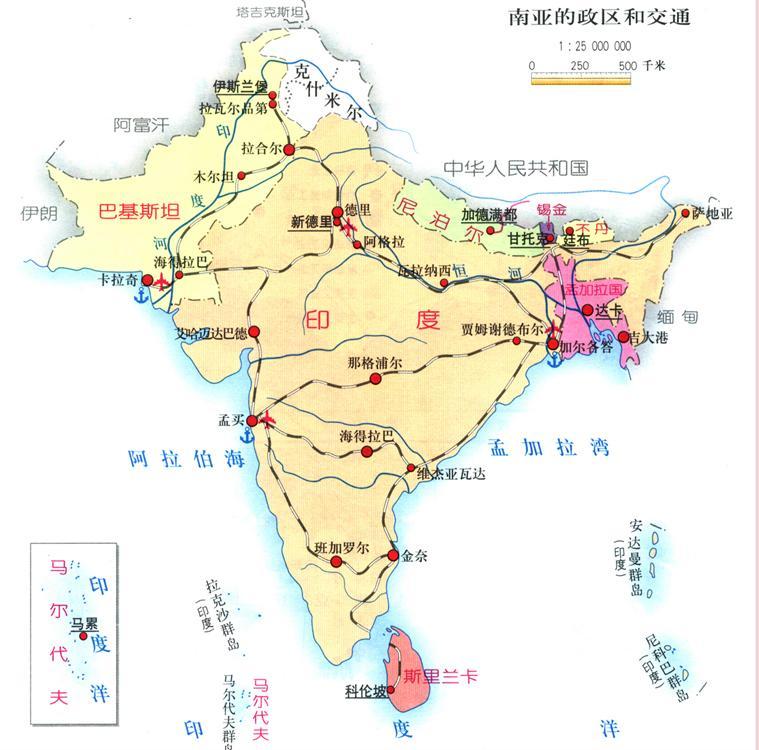 南亚地形图手绘简图