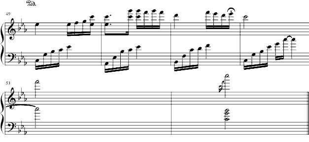 谁有《夜的钢琴曲五》的简谱,五线谱,双手的