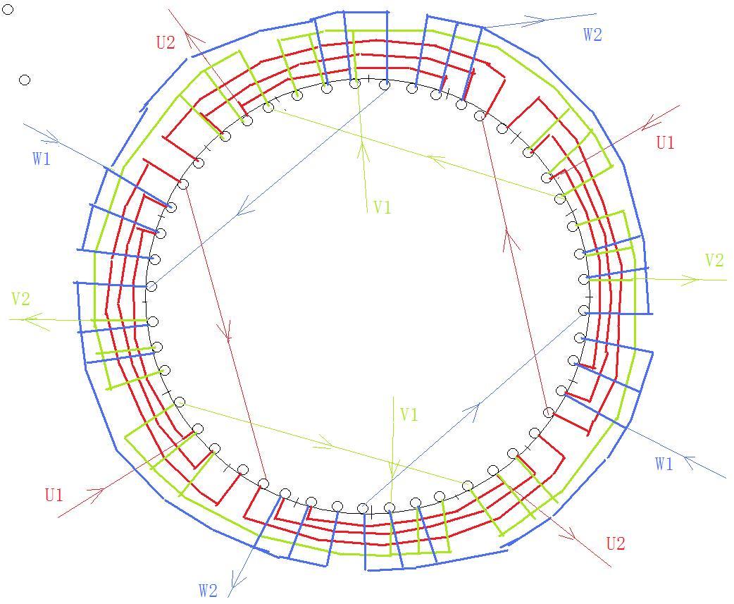 谁知道55kw(型号y-250m-4)48槽4极单双混合绕组接线图
