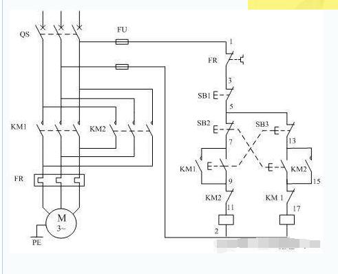 线圈电压是220v的三相交流接触器怎样接线才能控制电动机正反转