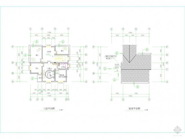 求一简单建筑的立面图,平面图和剖面图