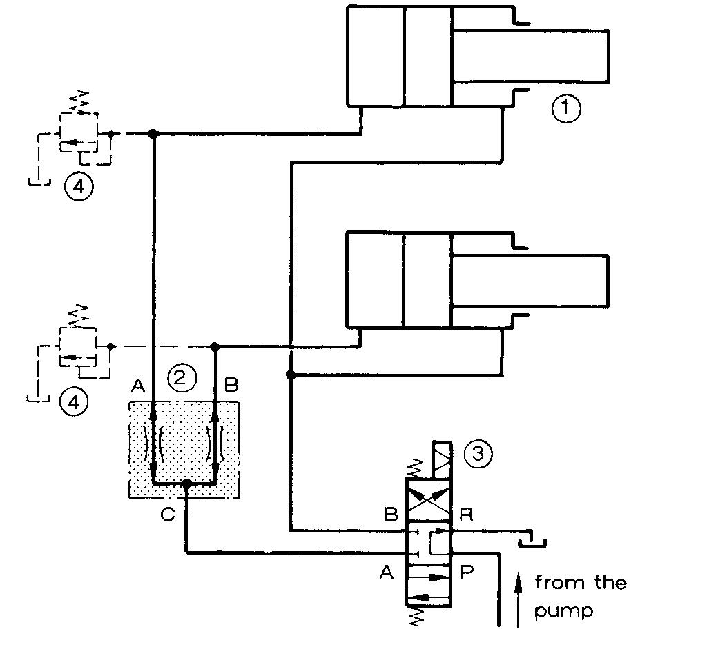 我想要一个叶片泵带动两个液压缸同时工作的液压原理图,感谢帮忙图片
