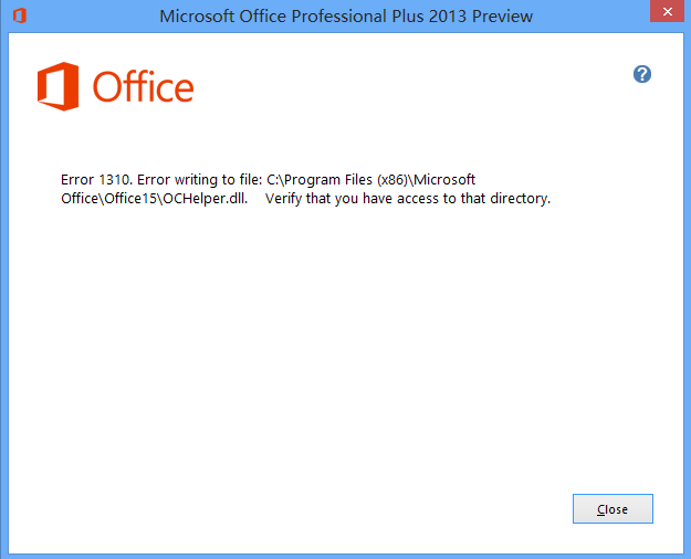 www.91wen.info_安装office2013时提示错误1310,清除注册表依然无效.请高手指点.