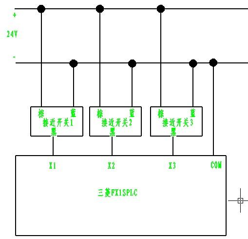 三菱的fx1splc接沪工的npn三线接近开关(具体接线如下