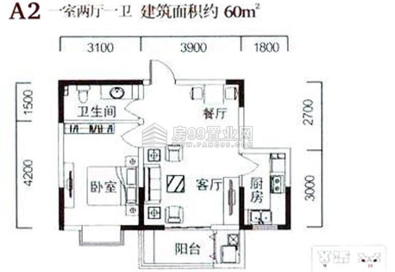怎么把60平米一室一厅一厨一卫隔成两室图片