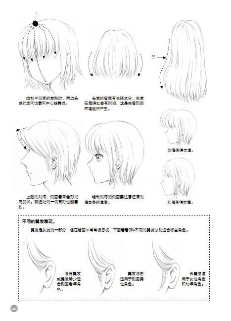 动漫女生人物头发怎么画