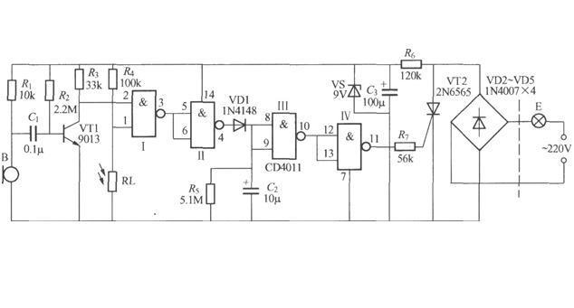 声光控延时照明电路