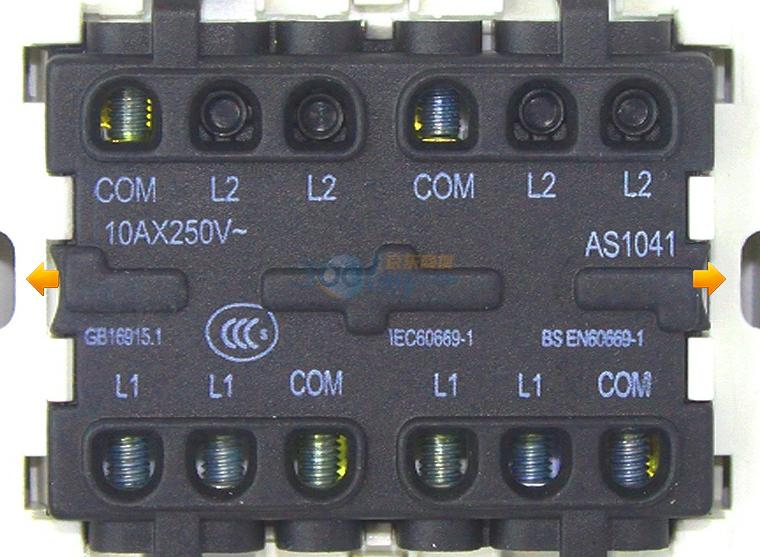 abb的四开单控开关怎么接线?图片