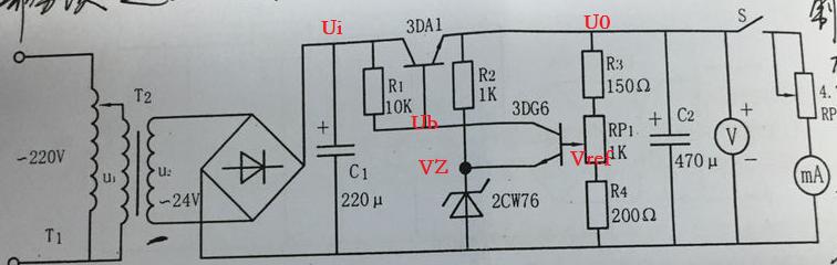 7 那么3dg6截止,那么ub=ui,3da1导通,给输出负载提供电流,输出电压u0