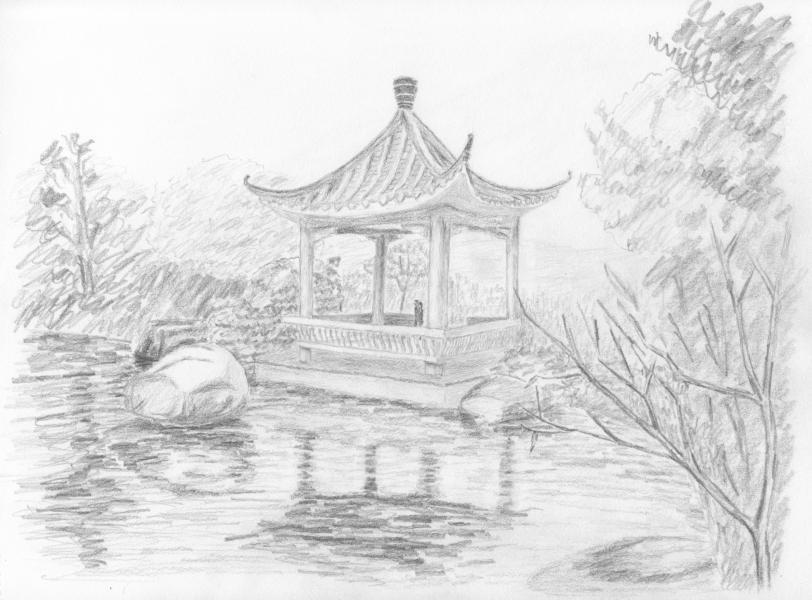简单的铅笔风景素描画,要图片!