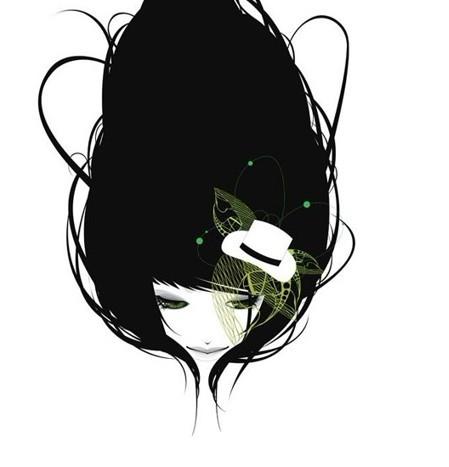 求简洁黑白风格人物插画