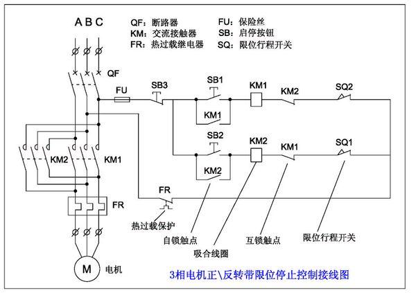 升降机 2个cj20_40接触器 开关接线图
