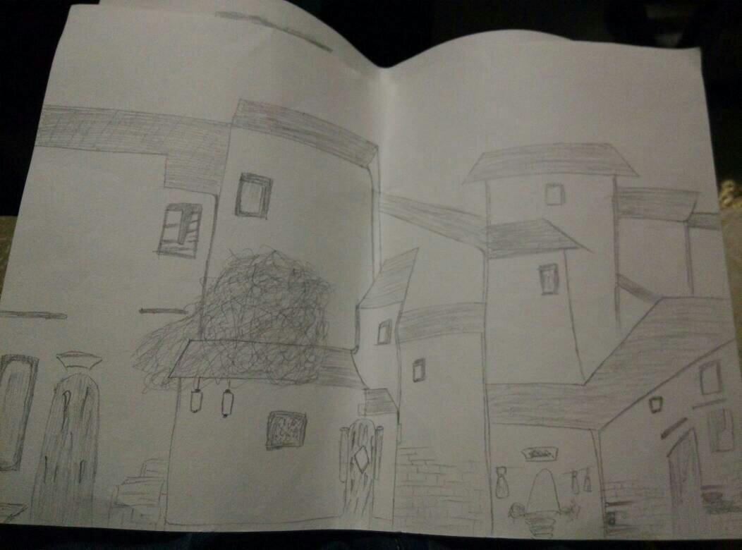 求这幅江南水乡风景画 铅笔画 我只画了框架 这只是那