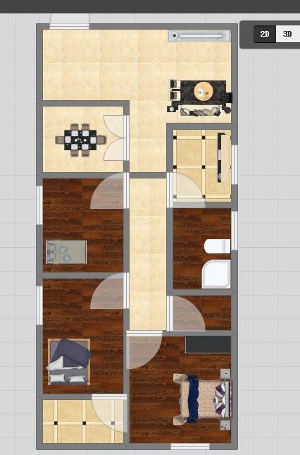 想要90平米面积三室一厅房屋设计图图片