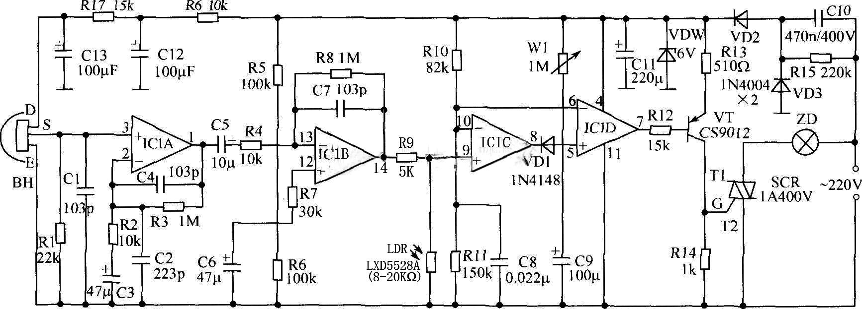 帮帮画个使用光敏电阻和红外传感器控制照明灯发亮的简易电路图,谢谢