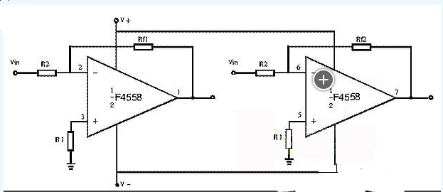 4558低音炮电路图怎么做?