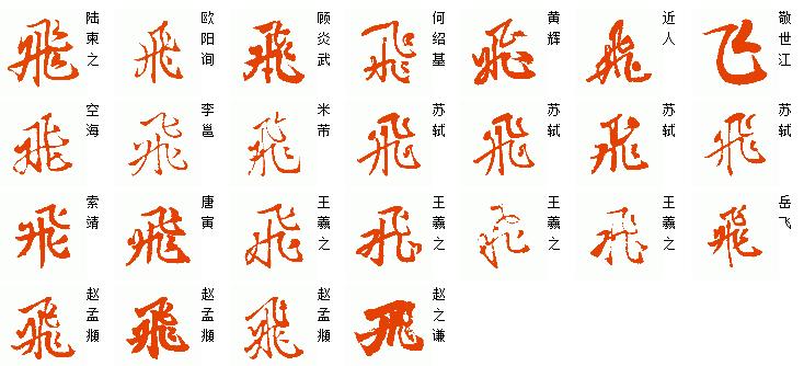 [飞]字历代名家名帖的简,繁体行书的写法.如图图片