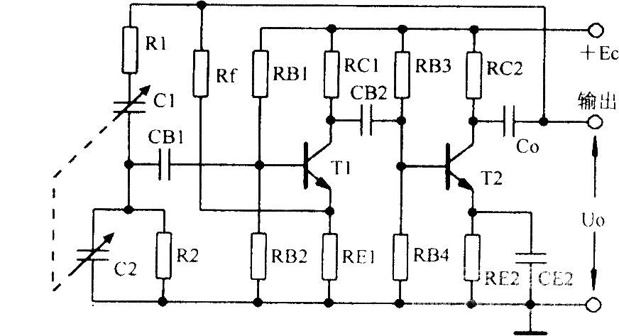 请高手给个正弦波振荡电路,要求不用运放和晶振的,频率在几十khz到100
