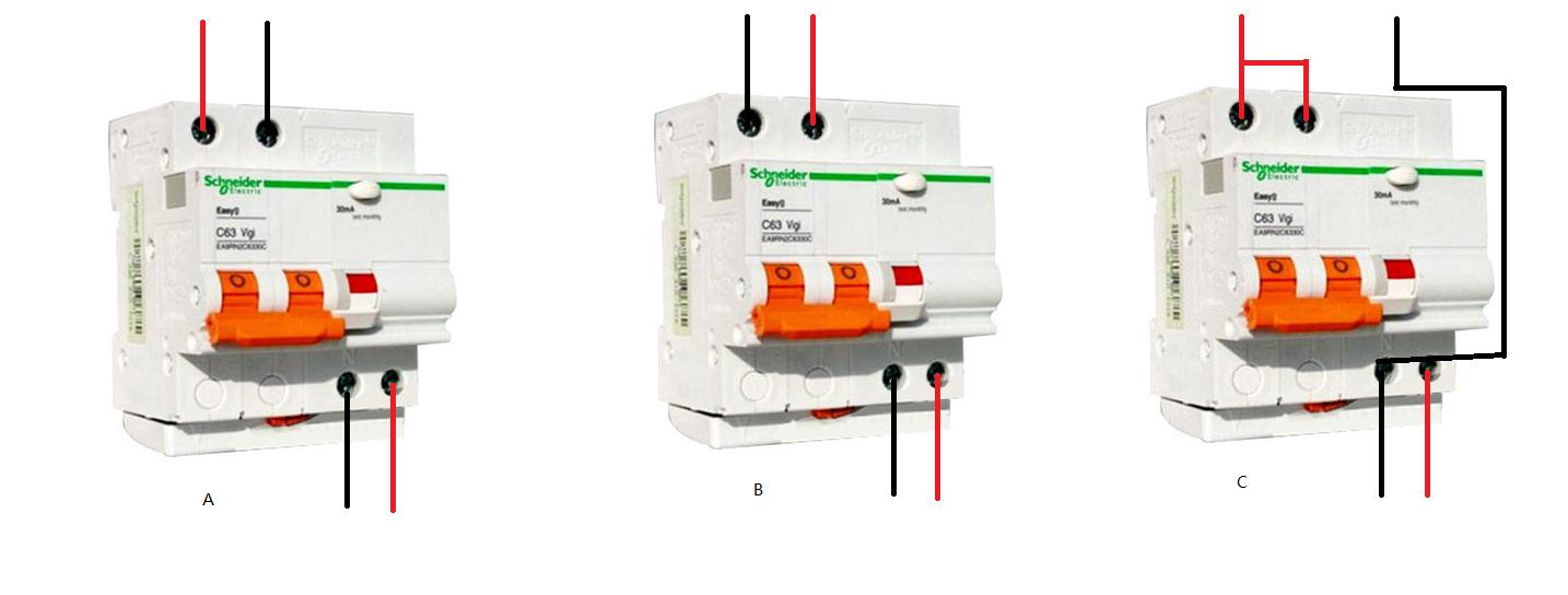 施耐德2p63a拼装式漏电保护器 断路器 怎么接?